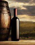 Red wine bottle. And wodden barrel, vineyard on background Royalty Free Stock Images