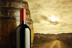 Red wine bottle. And wodden barrel, vineyard on background Royalty Free Stock Photo