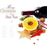 Red Wine Bottle And Spices For Christmas Hot Mulled Wine On Whit Royalty Free Stock Image