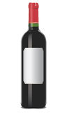 Red wine bottle. With blank label,   on white background Stock Photo