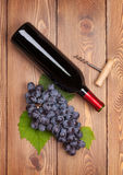 Red wine bottle and bunch of red grapes Royalty Free Stock Photography