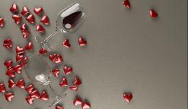 Red Wine Bottle With Bunch Of Red Hearts. 3D Rendering  Of Red Wine Bottle With Bunch Of Red Hearts On Leather Surface St.Valentine`s Day Stock Photography