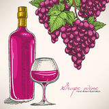 Red wine bottle and bunches of grapes Royalty Free Stock Photography