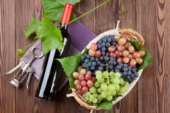 Red wine bottle and colorful grapes Stock Images