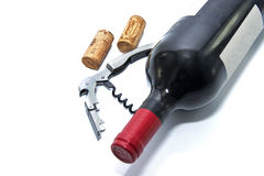 Red wine bottle with cork Royalty Free Stock Photos