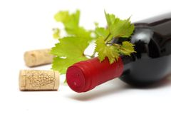 Red wine bottle and corks Royalty Free Stock Photos