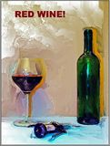 Red wine bottle and glass. Digital oil painting on bottle of red wine with glass and corkscrew Stock Photo