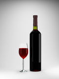 Red wine bottle and glass. 3d illustration Royalty Free Stock Photo