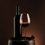 Red wine, bottle and glass Stock Photo