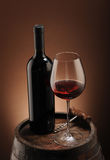 Red wine, bottle and glass Stock Photos