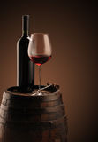 Red wine, bottle and glass Royalty Free Stock Images