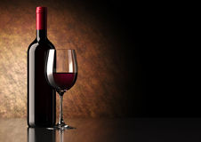 Red Wine Bottle with Glass Royalty Free Stock Photo