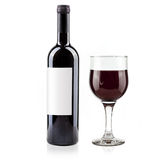 Red wine bottle and glass. On white background stock photography