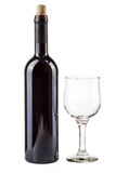 Red wine bottle and glass royalty free stock photos