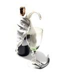 Red wine bottle and glass. With corckscdrew on white background Royalty Free Stock Photo