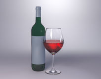 Red wine bottle with glass Royalty Free Stock Image