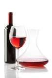 Red wine. A bottle, a glass and a decanter Stock Image