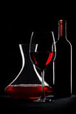 Red wine. Bottle, glass and decanter Stock Photography