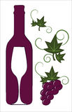 Red wine bottle and glass. With floral deco elements Royalty Free Stock Photography
