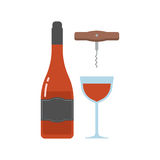 Red Wine Bottle and Glass Stock Photo