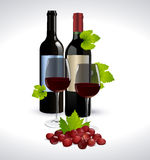Red wine bottle glass and grape Royalty Free Stock Photo