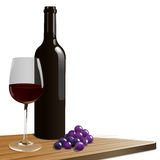 Red Wine. A red wine bottle with glass and grapes Stock Image