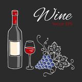 Red wine bottle, glass and grapes vector illustration. Royalty Free Stock Photography