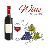 Red wine bottle, glass and grapes vector illustration. Royalty Free Stock Photos