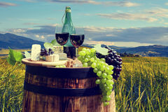 Red wine bottle and  glass on old barrel. Stock Image