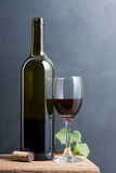 Red wine in bottle and glass Stock Image