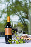 Red wine with bottle and glass on a table Royalty Free Stock Photo