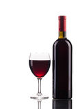Red wine bottle and glass. Royalty Free Stock Images