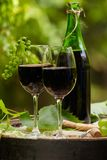 Red wine bottle and wine glass on wodden barrel. Beautiful Tuscany background.  royalty free stock image