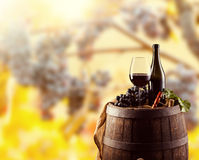 Red wine bottle and glass on wodden keg Royalty Free Stock Images