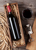 Red wine bottle and glass Royalty Free Stock Photography