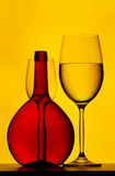 Red wine bottle and glasses Stock Photo