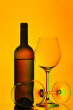 Red wine bottle and glasses stock image