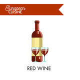 Red wine in bottle and glasses from European cuisine Royalty Free Stock Photo
