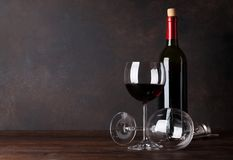 Red wine bottle and glasses Royalty Free Stock Images