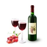 Red Wine Bottle Glasses And Grapes Royalty Free Stock Images