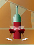 Red wine bottle and glasses over brown paper Royalty Free Stock Photo