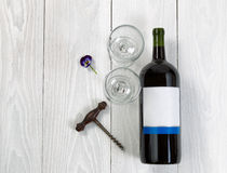 Red Wine bottle and glasses on white wooden board Stock Images