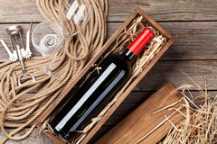 Red wine bottle and glasses Royalty Free Stock Photo