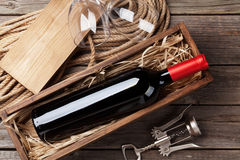 Red wine bottle and glasses Royalty Free Stock Image