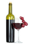 Red wine bottle and grape isolated on white Royalty Free Stock Photography