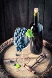 Red wine in bottle and grapes in glass. On wooden background Stock Photo