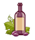 Red wine bottle with grapes and green leaf Royalty Free Stock Photos