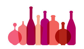 Red wine bottle illustration. Royalty Free Stock Photo