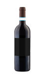 Red wine bottle isolated with blank label. Stock Images