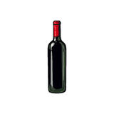 Red wine bottle, isolated sketch style vector illustration Stock Photos